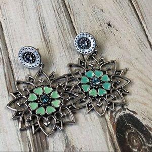 Jewelry - Pierced aqua star rhinestone enamel earrings